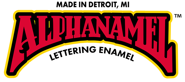 Alphanamel signwriting paint logo
