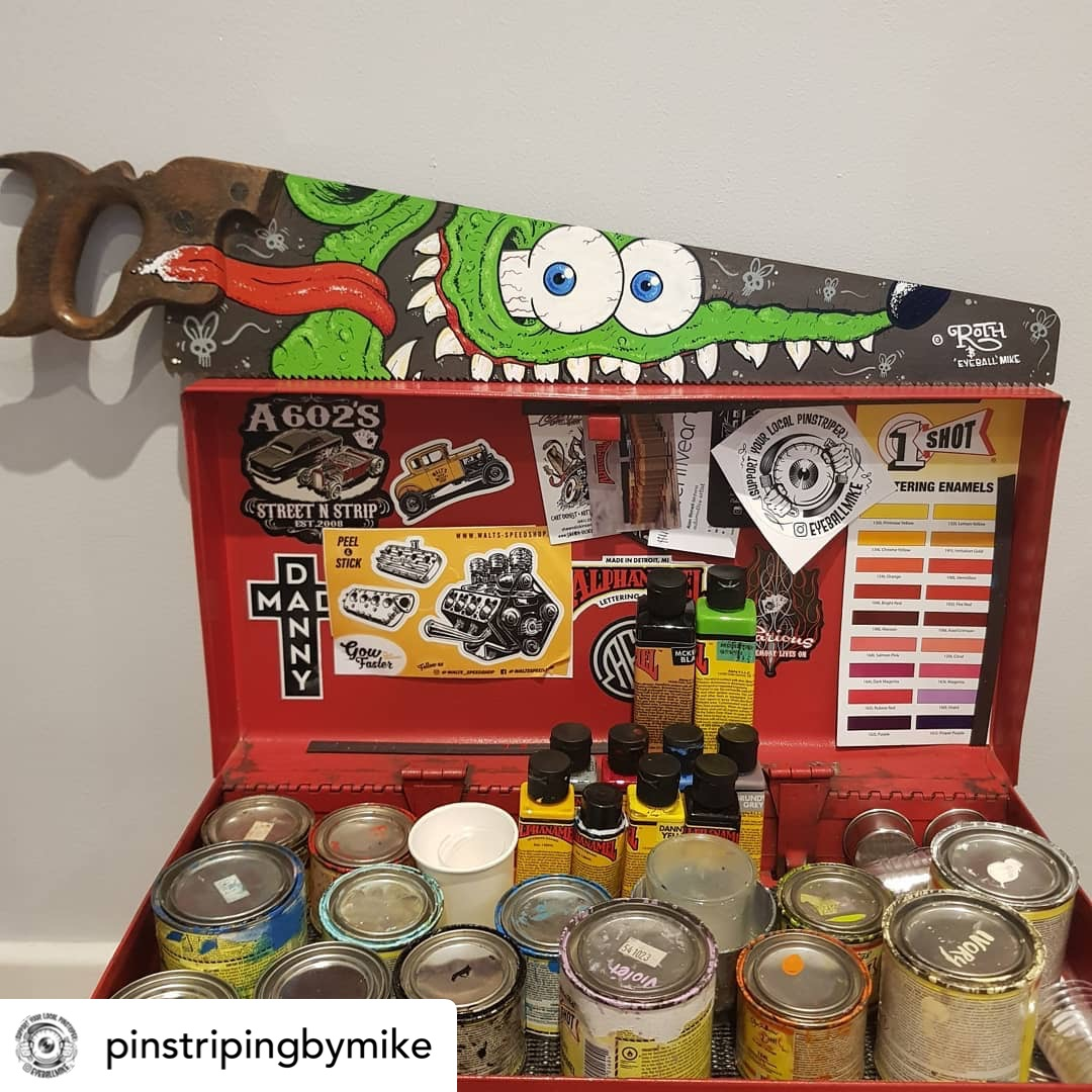 Officially Licensed Rat Fink painting using Alphanamel @pinstripingbymike